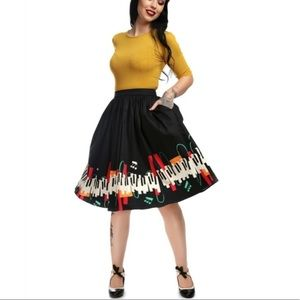 Collectif Jasmine Jazz Piano Music Circle Skirt 6